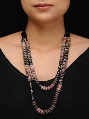 Rhodonite and Smoky Topaz Beaded Silver Necklace