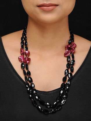 Black Onyx and Baroque Pearl Beaded Silver Necklace