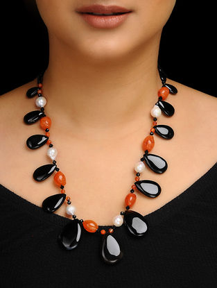 Carnelian and Baroque Pearl Beaded Silver Necklace