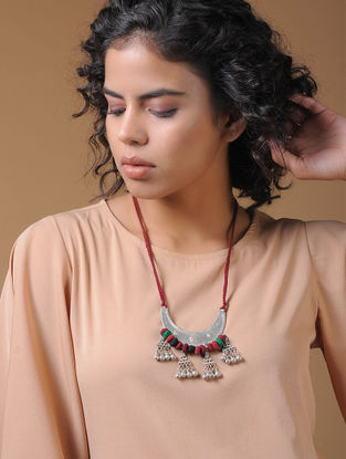 Red-Multicolored Handcrafted Thread Necklace with Pendant