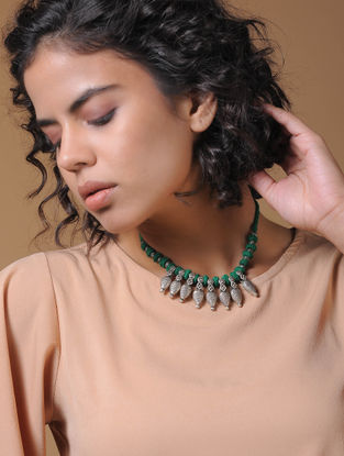 Green Handcrafted Thread Necklace