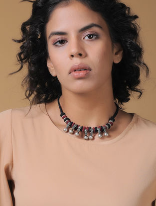 Red-Black Handcrafted Thread Necklace