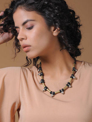 Black Gold Tone Handcrafted Thread Necklace