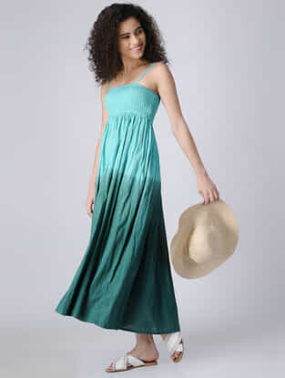 Blue-Green Ombre Cotton Long Dress with Smocking
