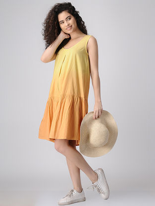 Yellow Ombre Cotton Dress with Gathers