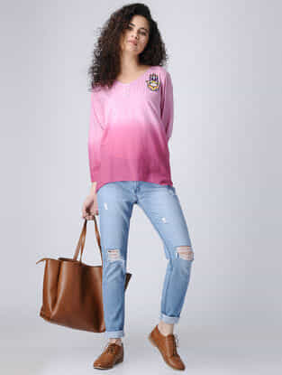 Pink Ombre Cotton Top with Pintucks