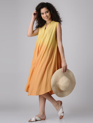 Yellow Ombre Flared Cotton Dress