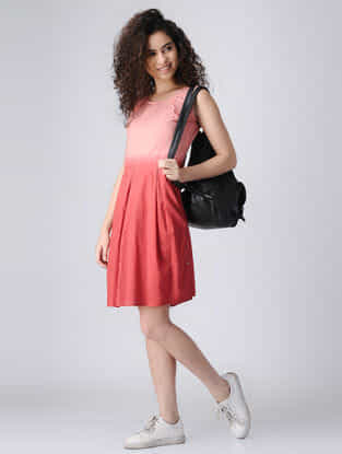 Peach Ombre Cotton Dress with Pleats