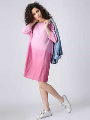 Pink Ombre Off-shoulder Cotton Dress with Smocking