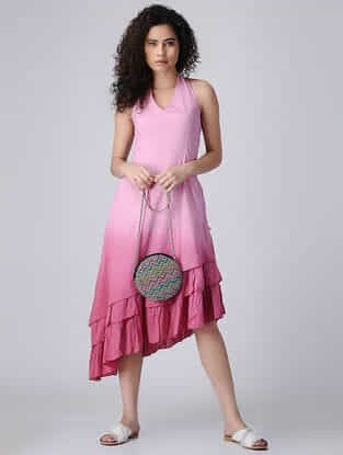Pink Ombre Halter Neck Cotton Dress with Smocking