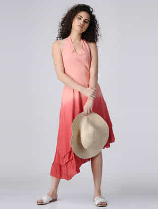 Peach Ombre Halter Neck Cotton Dress with Smocking