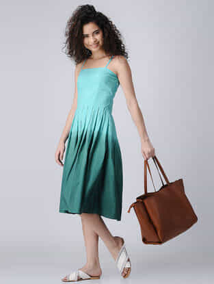 Blue Ombre Cotton Dress with Pleats