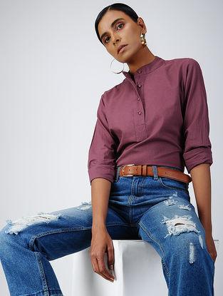 Purple Cotton Dobby Top