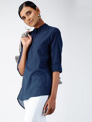 Blue Cotton Dobby Top