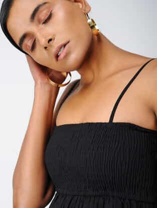 Black Elasticated Cotton Dobby Top