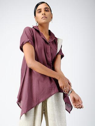 Purple Cotton Dobby Shirt with Asymmetric Hem