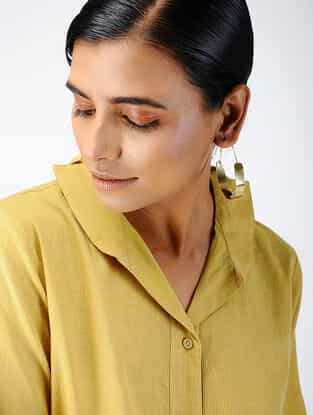 Yellow Cotton Dobby Shirt with Asymmetric Hem