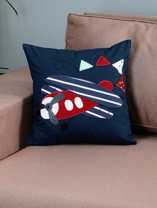 Navy Blue-Red Cotton Cushion Cover with Airplane Patchwork