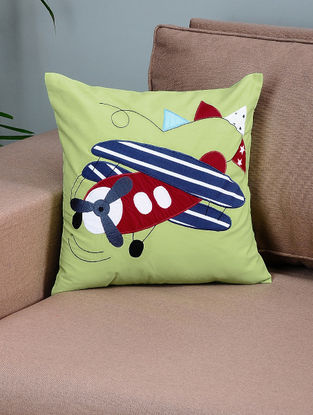 Green-Blue Cotton Cushion Cover with Airplane Patchwork