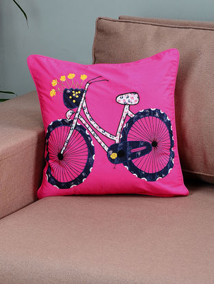 Pink-Blue Cotton Cushion Cover with Cycle Patchwork