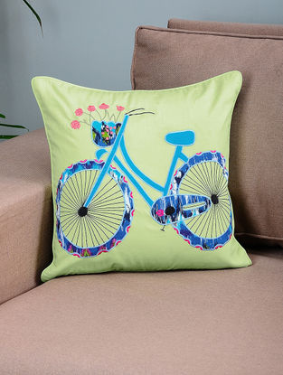 Green-Blue Cotton Cushion Cover with Cycle Patchwork