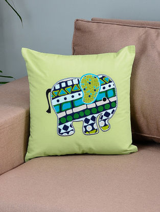 Green-Blue Cotton Cushion Cover with Elephant Patchwork