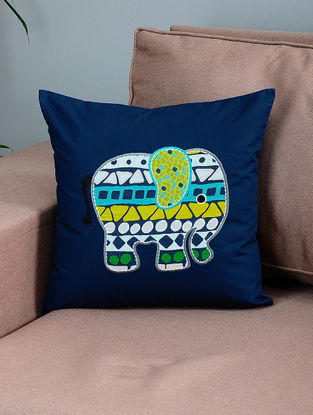 Navy Blue-Green Cotton Cushion Cover with Elephant Patchwork