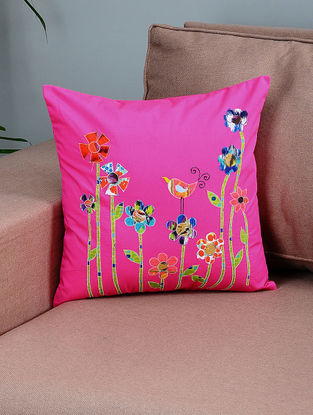 Pink-Green Cotton Cushion Cover with Floral Patchwork