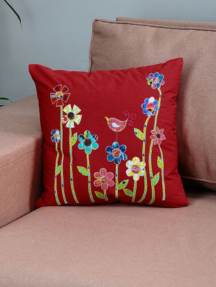 Red-Green Cotton Cushion Cover with Floral Patchwork