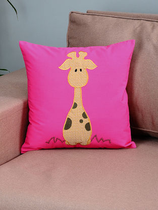 Pink-Mustard Cotton Cushion Cover with Giraffe Patchwork
