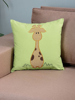 Green-Mustard Cotton Cushion Cover with Giraffe Patchwork
