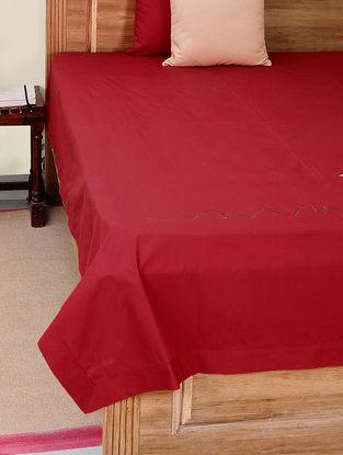 Red-Mustard Cotton Bedsheet with Giraffe Patchwork
