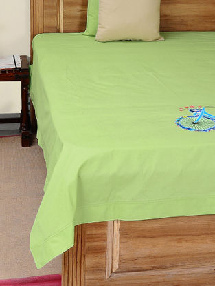 Green-Blue Cotton Bedsheet with Cycle Patchwork