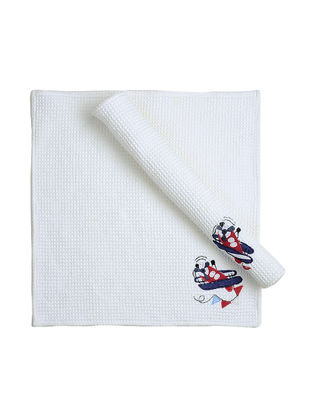 White Waffle Cotton Towels with Airplane Patchwork (Set of 2)