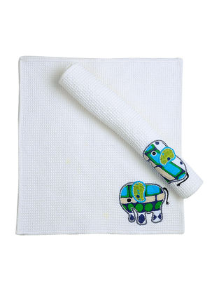 White Waffle Cotton Towels with Elephant Patchwork (Set of 2)