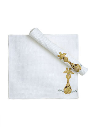 White Waffle Cotton Towels with Giraffe Patchwork (Set of 2)