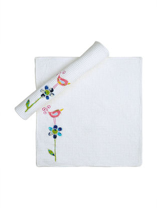 White Waffle Cotton Towels with Floral Patchwork (Set of 2)