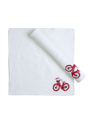 White Waffle Cotton Towels with Cycle Patchwork (Set of 2)