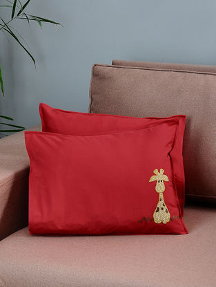 Red-Mustard Cotton Pillow Covers with Giraffe Patchwork (Set of 2)