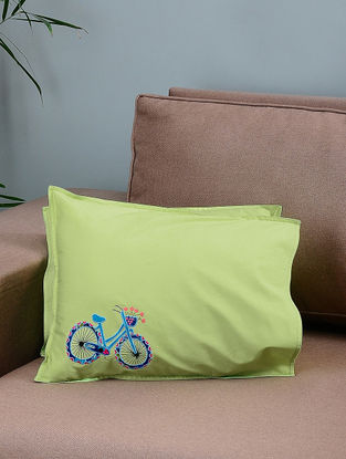 Green-Blue Cotton Pillow Covers with Cycle Patchwork (Set of 2)