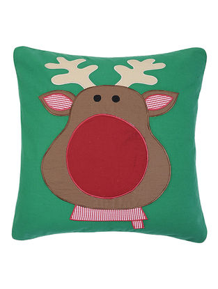 Green Cotton Cushion Cover with Rudolf Patchwork -16in x 16in
