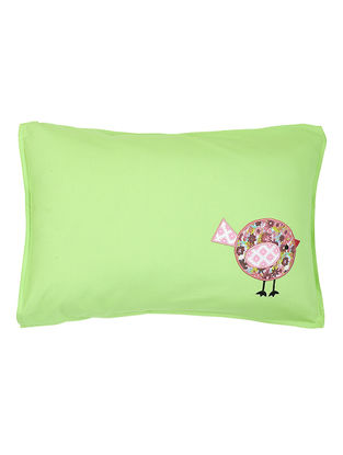 Green Cotton Pillow Cover with Bird Patchwork