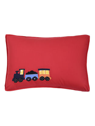 Red Cotton Pillow Cover with Train Patchwork