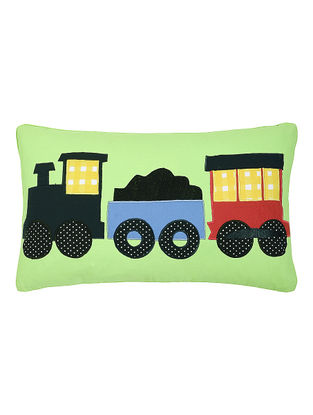 Green Cotton Cushion Cover with Train Patchwork