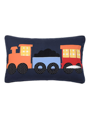 Navy Cotton Cushion Cover with Train Patchwork