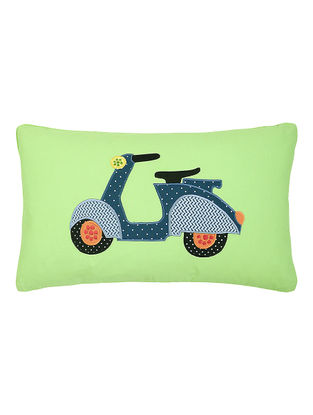 Green Cotton Cushion Cover with Scooter Patchwork