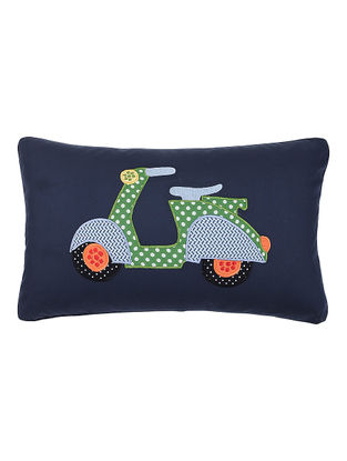 Blue Cotton Cushion Cover with Scooter Patchwork