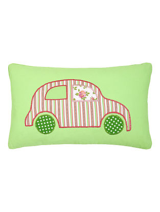 Green Cotton Cushion Cover with Car Patchwork