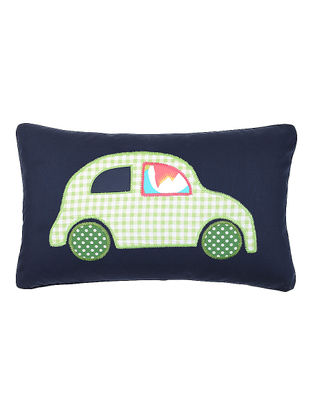 Blue Cotton Cushion Cover with Car Patchwork