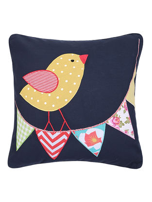 Blue Cotton Cushion Cover with Bird Patchwork -16in x 16in